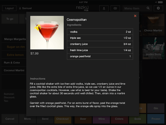 Ordering Drinks on Bar POS