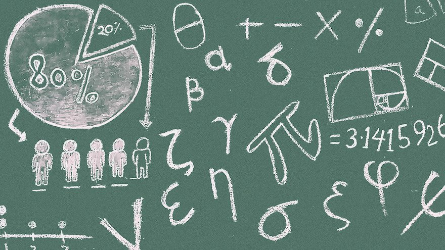 math equations on chalkboard