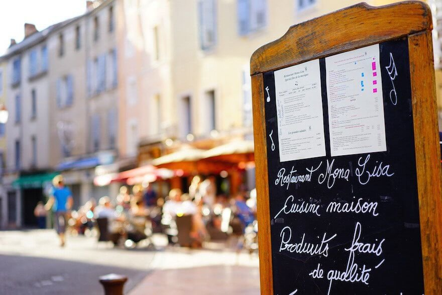outdoor restaurant chalkboard menu