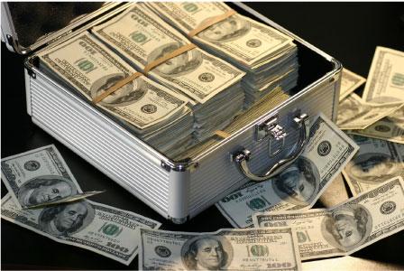 money stack in briefcase