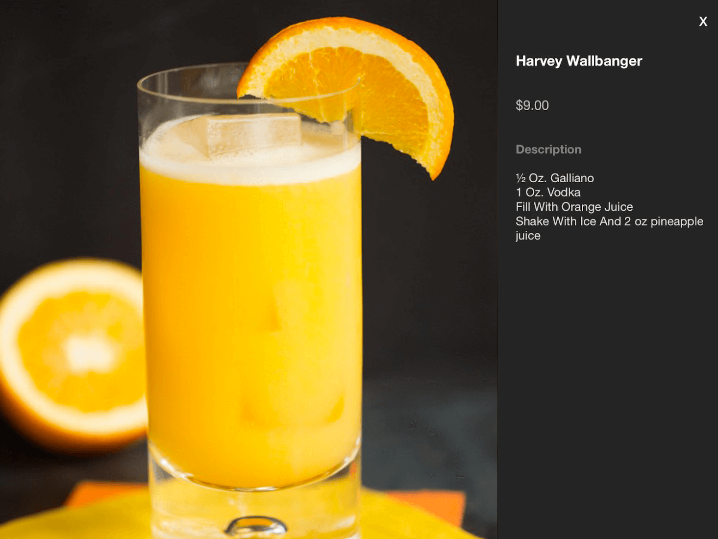 Built in POS cocktail recipes example screen