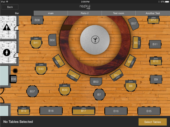 Example restaurant floor plan for table management and ordering