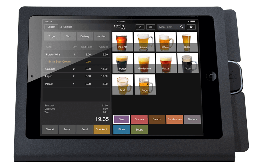 iPad System in stand with menu for ordering
