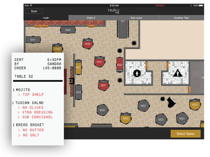iPad POS restaurant floor plan screen shot example