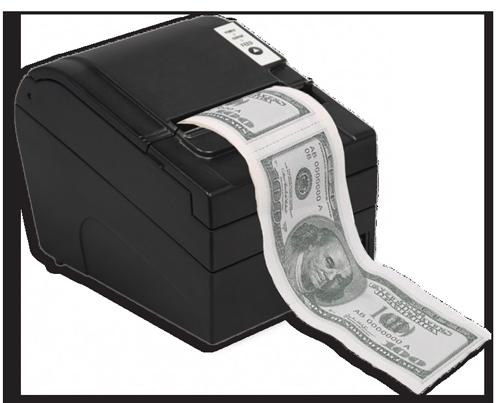 Receipt paper with money