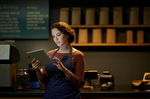 Woman ordering using Rezku POS