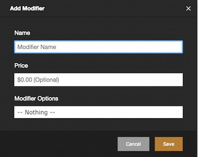 rezku point of sale add modifier form