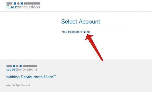 guest innovations select account page