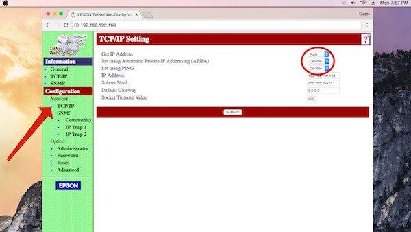 epson tc/ip settings window