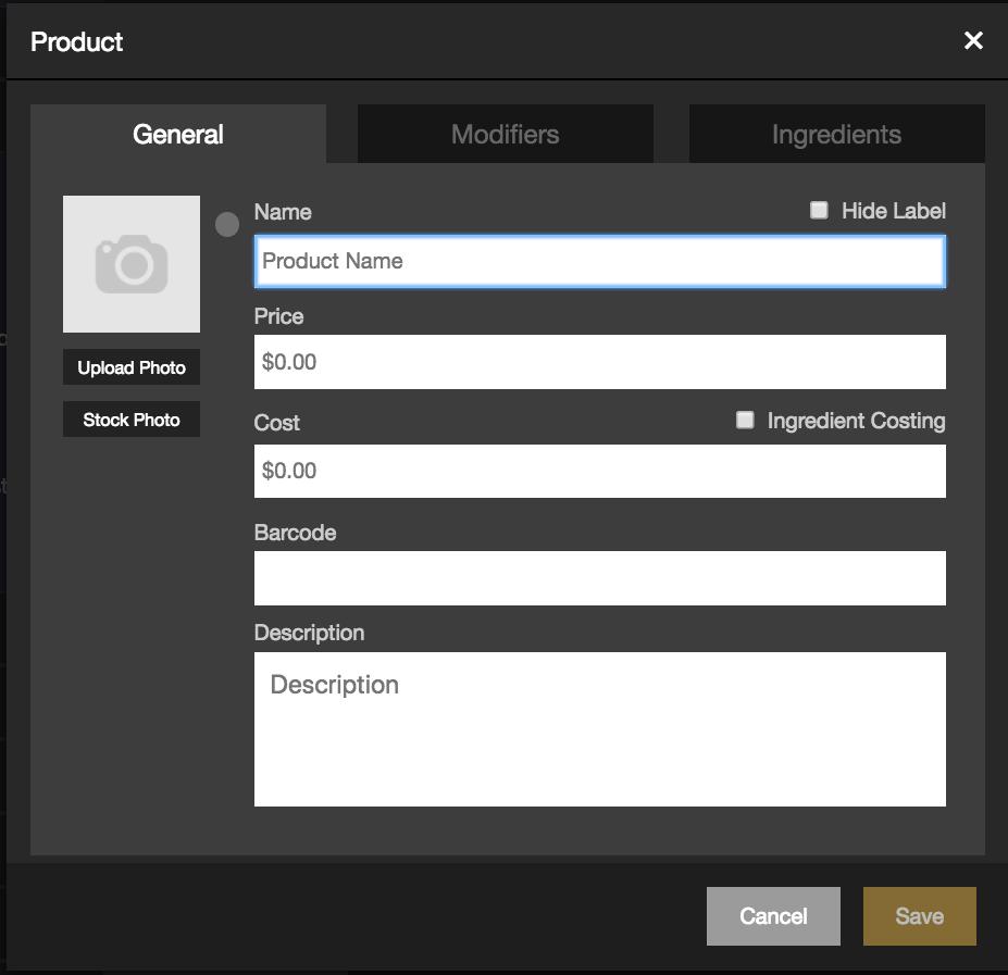 rezku pos backoffice adding a new product