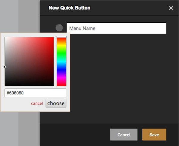 choosing a menu item color in rezku pos back office