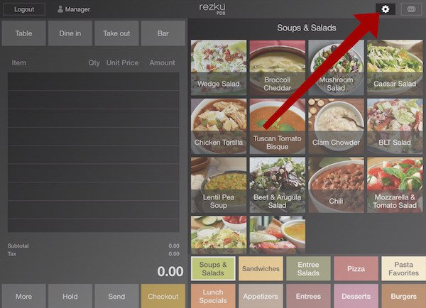 point of sale showing the gear icon