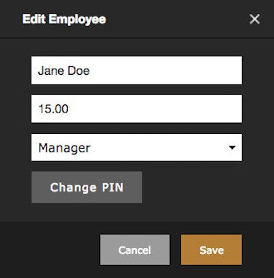Edit Employee form in rezku back office