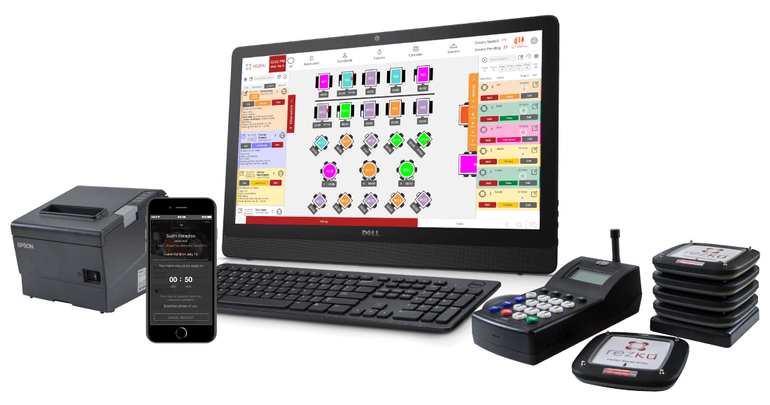 Complete Rezku Prime hardware including touchscreen, epson printer, and LRS paging system
